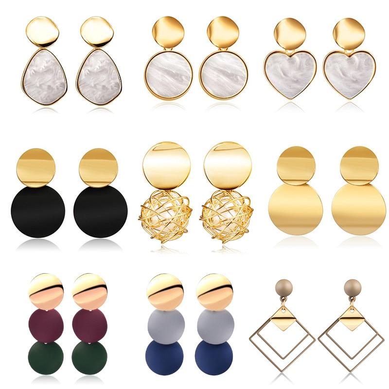 X&P New Korean Heart Statement Drop Earrings 2020 for Women Fashion Vintage Geometric Acrylic Dangle Hanging Earring Jewelry 2