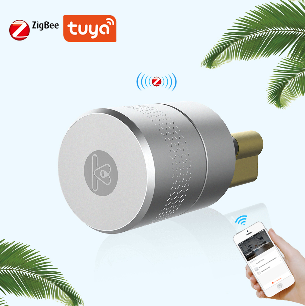 TUYA Smart Lock Cylinder Zigbee Wireless Smart Fingerprint Lock Phone Control Stainless Steel For Door Lock Modification Upgrade