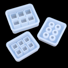 Transparent Rectangle Silicone Bead Mould Square Ball 6 Hanging Holes DIY Epoxy Jewelry Mold Resin Molds For Jewelry