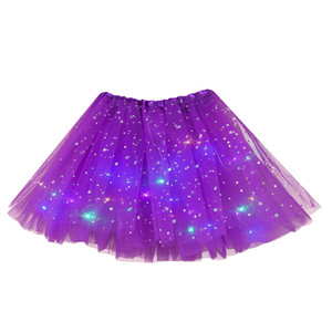 Girls Led Tutu Skirt Star Sequins Mesh Pleated Tulle With Led Small Bulb Colorful Luminous Party Dance Skirt Festival Cosplay