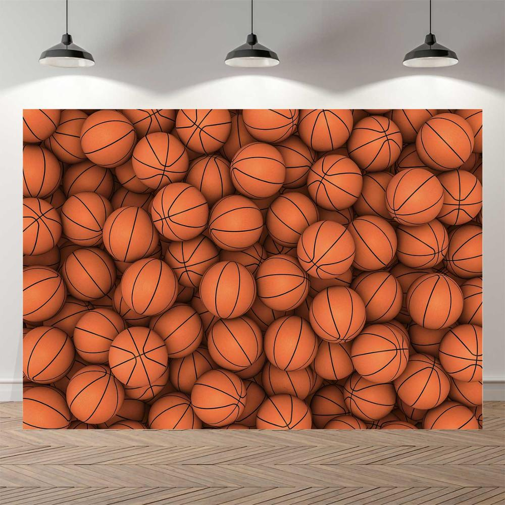 6x4FT Black Wall Photography Backdrop Basketball Rack Basketball Under Light Empty Space Background Photo Shoot Video Studio Props