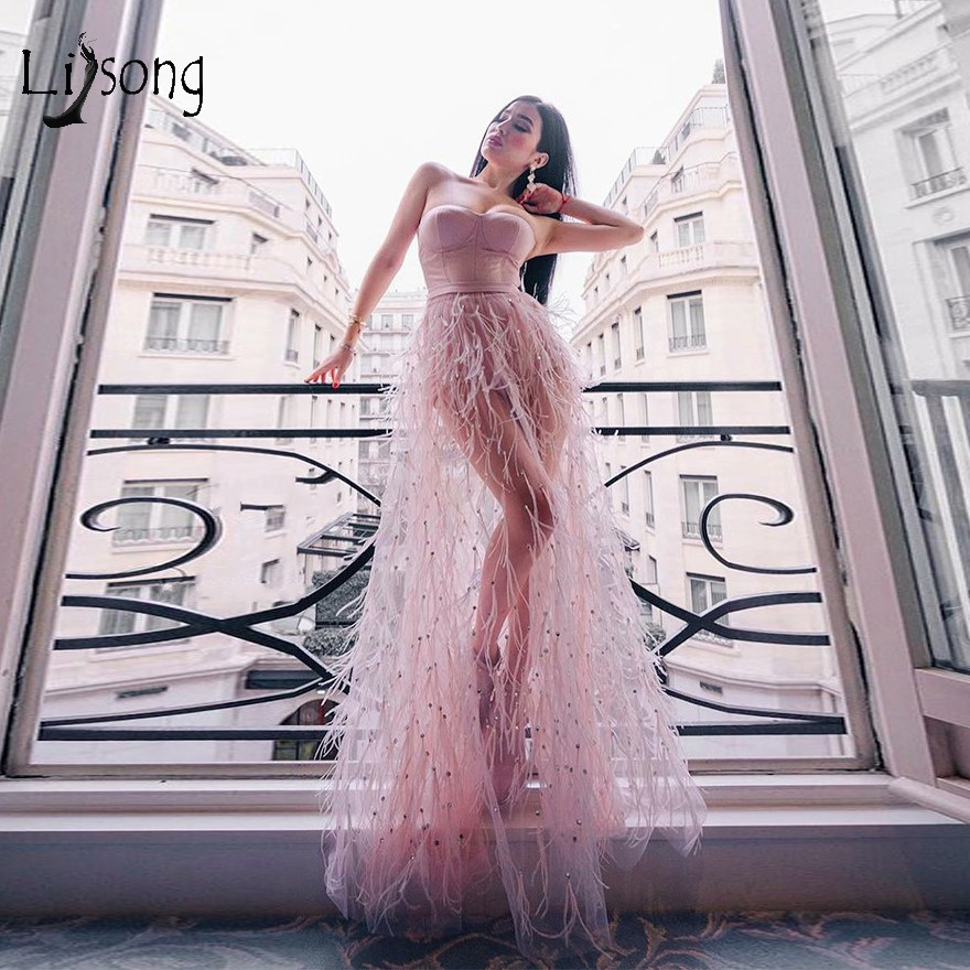 Sexy Pink See Thru Crystal Feather   Prom     Dresses   2019 Fashion Beaded A-line   Prom   Gowns Party   Dresses   Robe De Soiree