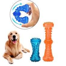 Tpr grande osso do cão brinquedo de borracha para animais de estimação som forte mordida-resistente teethbrush brinquedos trem dentes limpo mascar perros acessórios