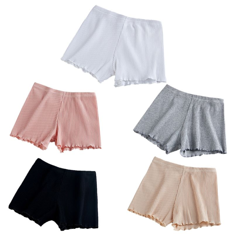 Women Girls Summer Safety Pants Thread Ribbed Striped Seamless Stretchy Underpants Solid Color Ruffled Agaric Hem Boxer Shorts