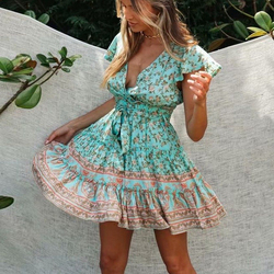Marigold Vintage Yellow Floral Above the Knee Ruffled Baby Doll Dress Bohemian