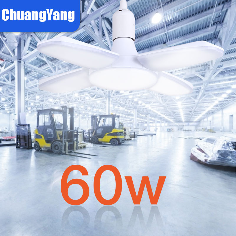 Industrial Lamp Workshop Light 45W/60W/80W E27 LED Bulb Super Bright Three-leaf LED Garage Lighting Led Ceiling For Garage 220V