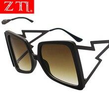 ZT Oversize Square Butterfly Sunglasses Women Brand Designer Ins Popular Fashion Punk Sun Glasses Metal Frame Gradient Shades