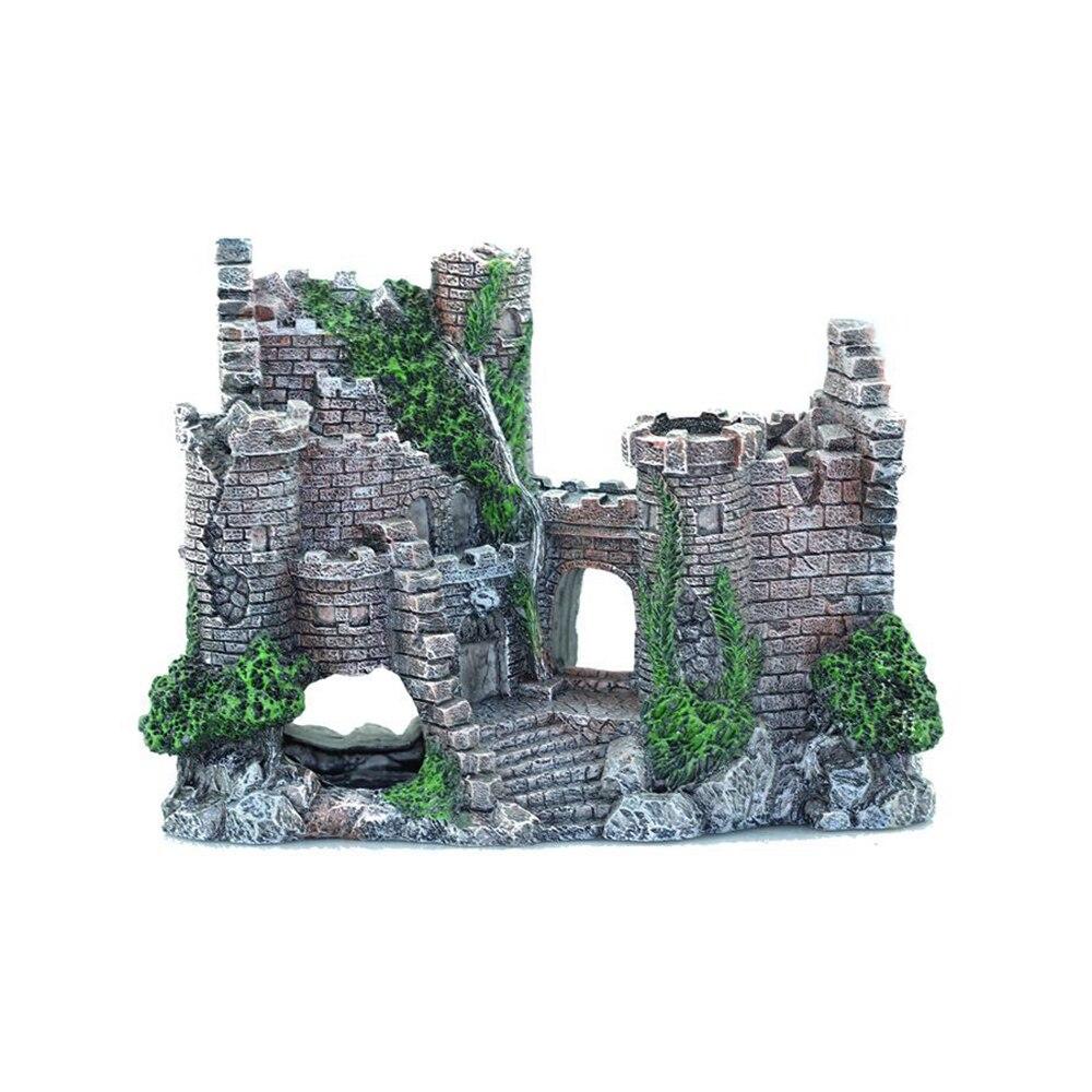 Украшение для аквариума старинное украшение для замка водное ландшафтное украшение для аквариума каменная пещера украшение для здания акс...