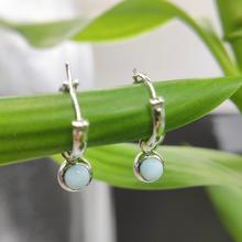 Hutang Larimar Women's Clip Earrings Solid 925 Sterling Silver Natural Blue Gemstone Fine Dangle Jewelry Vintage Design for Gift hutang stone jewelry natural green turquoise blue topaz pendant solid 925 sterling silver necklace fine jewelry for women gift