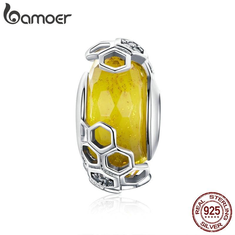 BAMOER Bangles Bee-Glass-Beads Jewelry Bracelets 925-Sterling-Silver European Original