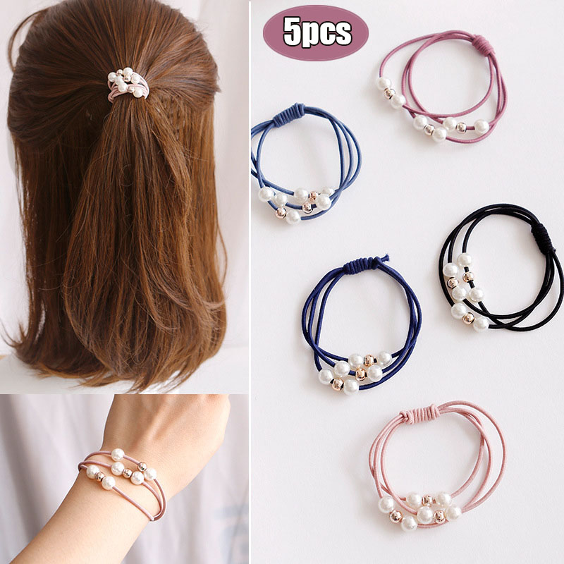 5Pcs Girls Women Crystals Rhinestone Balls Hair Bands Ropes Elastic Accessories