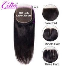 Perruque Lace Closure naturelle brésilienne Remy lisse – Celie, 6x6, avec Baby Hair, 3 parties, partie libre et centrale
