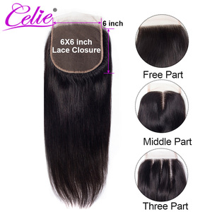 Image 1 - Celie 6x6 Vetersluiting Straight Menselijk Haar Sluiting Met Baby Haar Gratis/Midden/Three Part Remy braziliaanse Hair Lace Top Sluiting