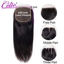 Celie Cierre de encaje de cabello humano liso, cierre de pelo humano, 6x6, sin pelo de bebé/medio/tres partes, pelo brasileño Remy, cierre superior de encaje