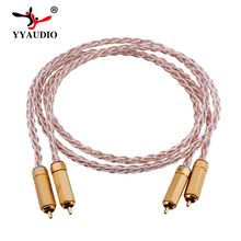 YYAUDIO 7N OCC Silver and Copper Hifi RCA Cable Hi-end 2RCA Male to Male Interconnect Cable 1m 2m 3m 5m 1m copper colour cc fond 2 rca male to male cable alloy 1 8 occ copper ln002686