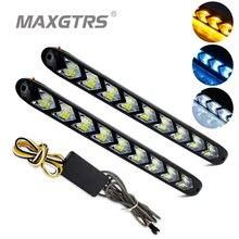 2x автомобильный гибкий белый/янтарный горящий светодиодный светильник Knight Rider, ленточный светильник для головы, последовательный мигалка, двойной цвет, DRL, сигнал поворота