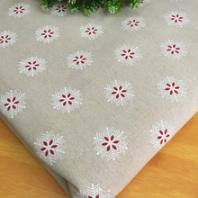 50x150cm Snowflake Printed Linen Cotton Fabric DIY Accessories Canvas Cloth Pillowcase Tablecloth Textile