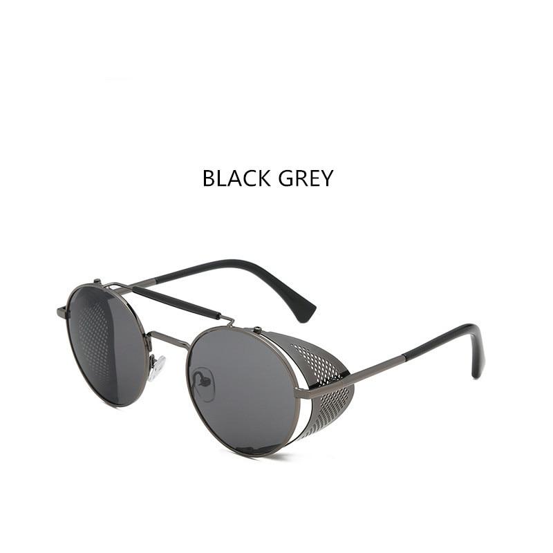 Vintage Retro Round Metal Sunglasses Steam Punk Style Side Mesh Brand Designer Glasses Oculos De Sol Shades UV Protection