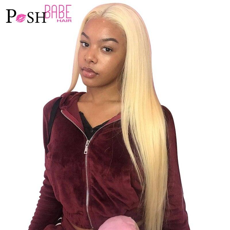 Perruque Lace Front Wig lisse brésilienne naturelle Remy | Couleur blond miel 613, ombré 1B 613, 8 - 28 pouces, pour femmes