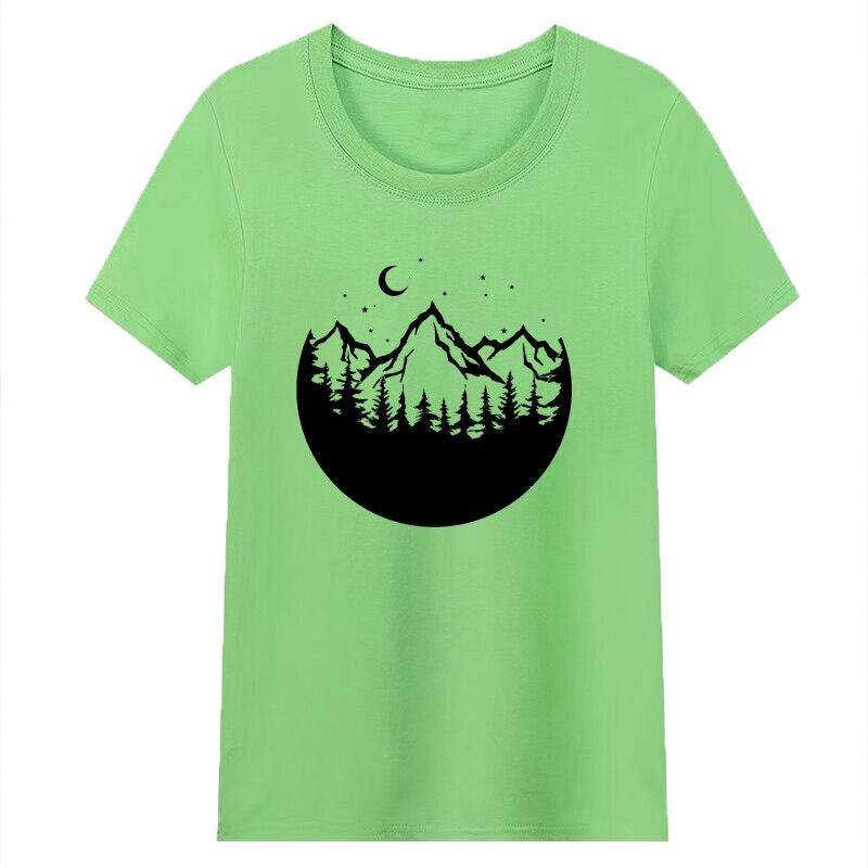 Лес Луна женские футболки 90s Уличная Для женщин топ Графические футболки хлопок путешествия футболка гранж эстетику Топы дропшиппинг