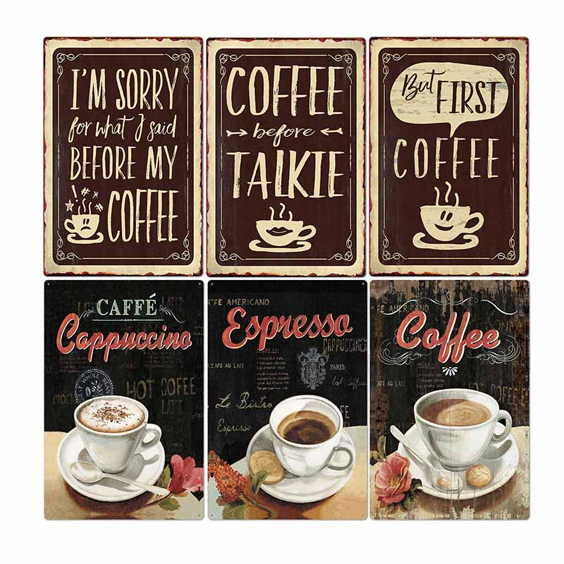 Metal Signs Coffee Vintage Poster Bar Cafe Pub Club Wall Decorative Kitchen Poster Retro Plaque Home Decor 20*30cm image