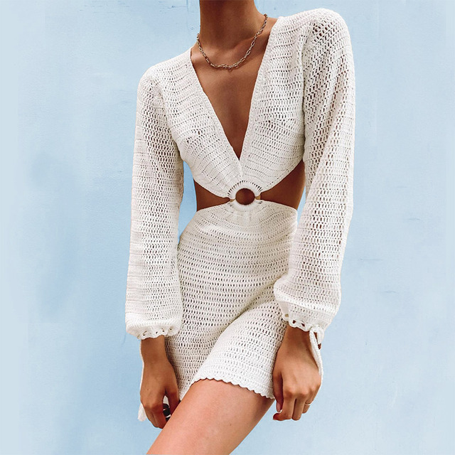 Summer Knitted Hollow Out Backless Women Dress Deep V-Neck Long Sleeve Lace Up Female Mini Dresses Sexy Slim Casual Lady Clothes 1