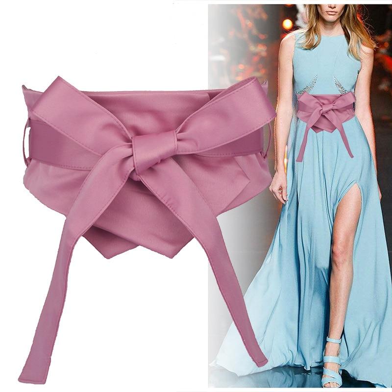 Fashion Pink Blue Yellow Black Fabric Soft Waist Belt For Women Self-tie Bow WIde Slim Corset Spring Autumn Coat Dress Belts