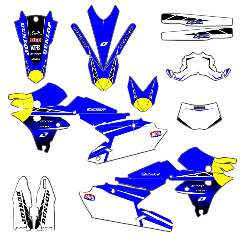 Full Set Graphics Customized Number <font><b>Stickers</b></font> Motorcycle Deco Kit For <font><b>Yamaha</b></font> WR250F 2015-2019 <font><b>WR450F</b></font> 2016-2018 YZ450FX 2016-2018 image