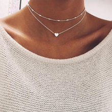 x253 New Arrival Gold Color Heart Pendant Necklace Fashion Double Layer Chain Choker For Women Top Quality Dropshipping