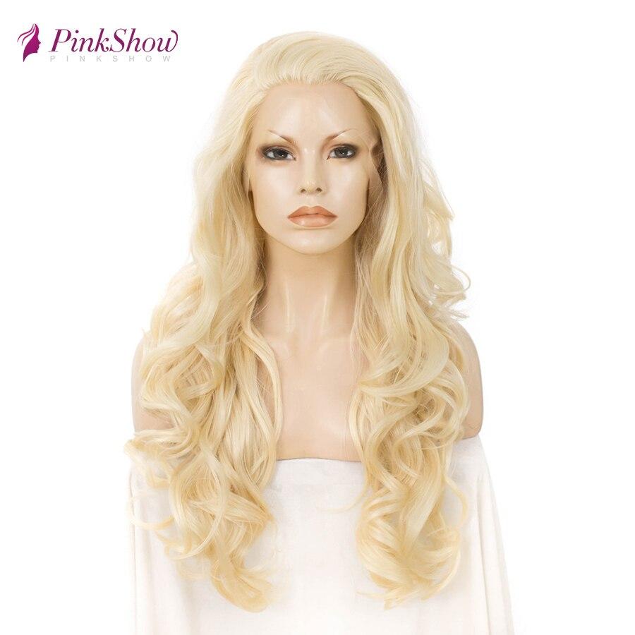 Pinkshow #613 perruque Blonde dentelle avant perruque perruques de cheveux synthétiques pour les femmes résistant à la chaleur fibre longue perruque ondulée
