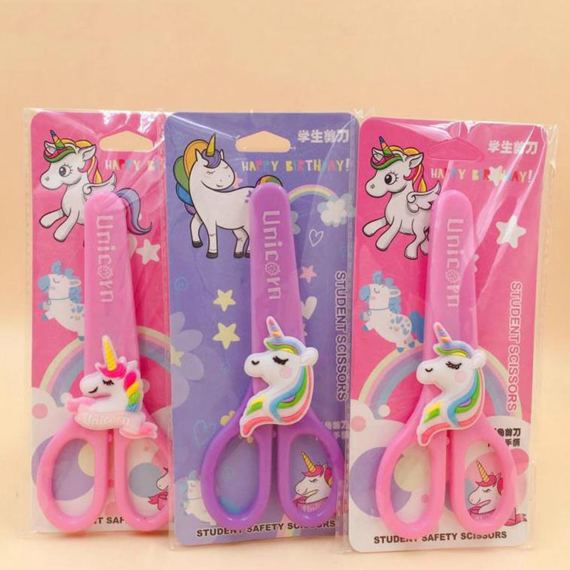 1 Pcs Animal Unicorn Flamingo Student Safety Paper-cut Art Scissors With Protective Cover Cap Office School Kids Stationery