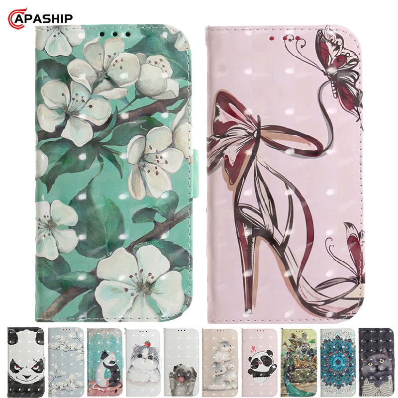 Cartoon Leather Flip Case For RedMi Note 6 7 8 Pro 8Pro S2 Y2 Y3 K20 6A 7A 8A 8T Cover Butterfly Wallet RedMi7 RedMi8 Phone Case image