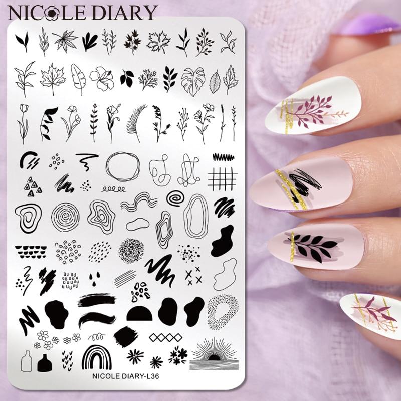 Трафареты NICOLE DIARY для стемпинга ногтей, пластины большого размера с изображением листьев, цветов, леопарда, снега, Рождества, инструмент для ...