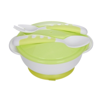 Baby Anti-slip Double Ear Sucker Bowl With Lid With Spoon Fork Baby Training Bowl Infant Food Supplement Tableware BPA Free New 1