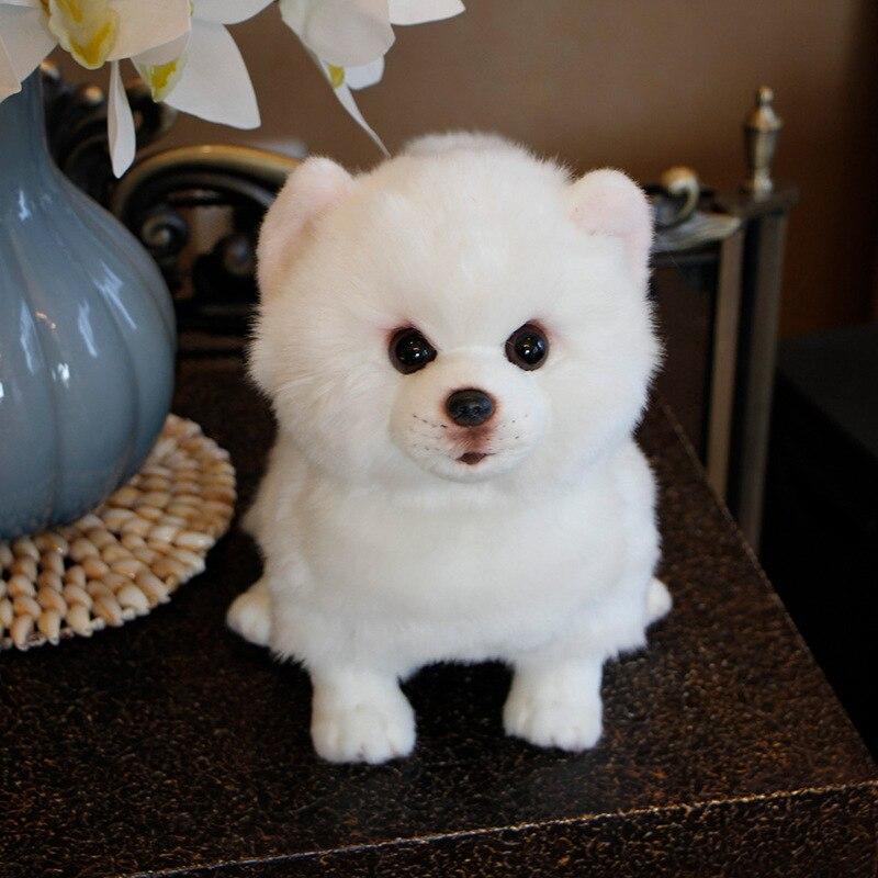 Hot Sale Plush Toys Simulation Pomeranian Samoyed Pure White Dog Stuffed Animal Toy Super Realistic Dog Living Room Decoration