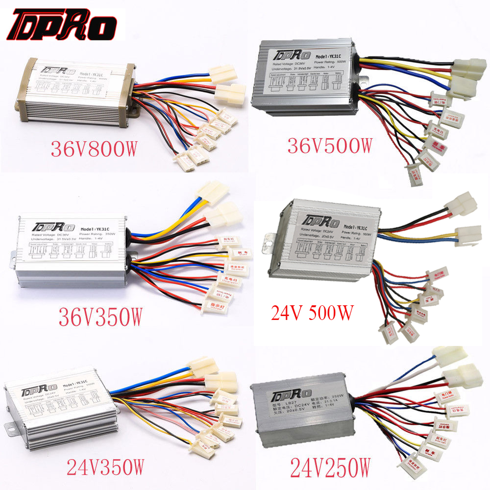 TDPRO 24V/36V 250W/350W/500W/800W Electric Bicycle Brush Motor Speed Controller Box For ATV Go Kart Quad Buggy Pit Bike Scooter