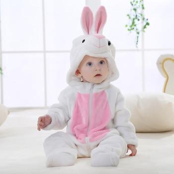 Baby Girl ubrania królik zwierząt śpioszki dla niemowląt kostium noworodki Bebe odzież Panda onesie maluch piżamy zimowe chłopcy kombinezon