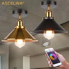 โคมไฟเพดานอุตสาหกรรม VINTAGE โคมไฟเพดาน LED ปรับได้อเมริกันประเทศโคมไฟเพดานโคมไฟห้องนั่งเล่น E27 85 260V