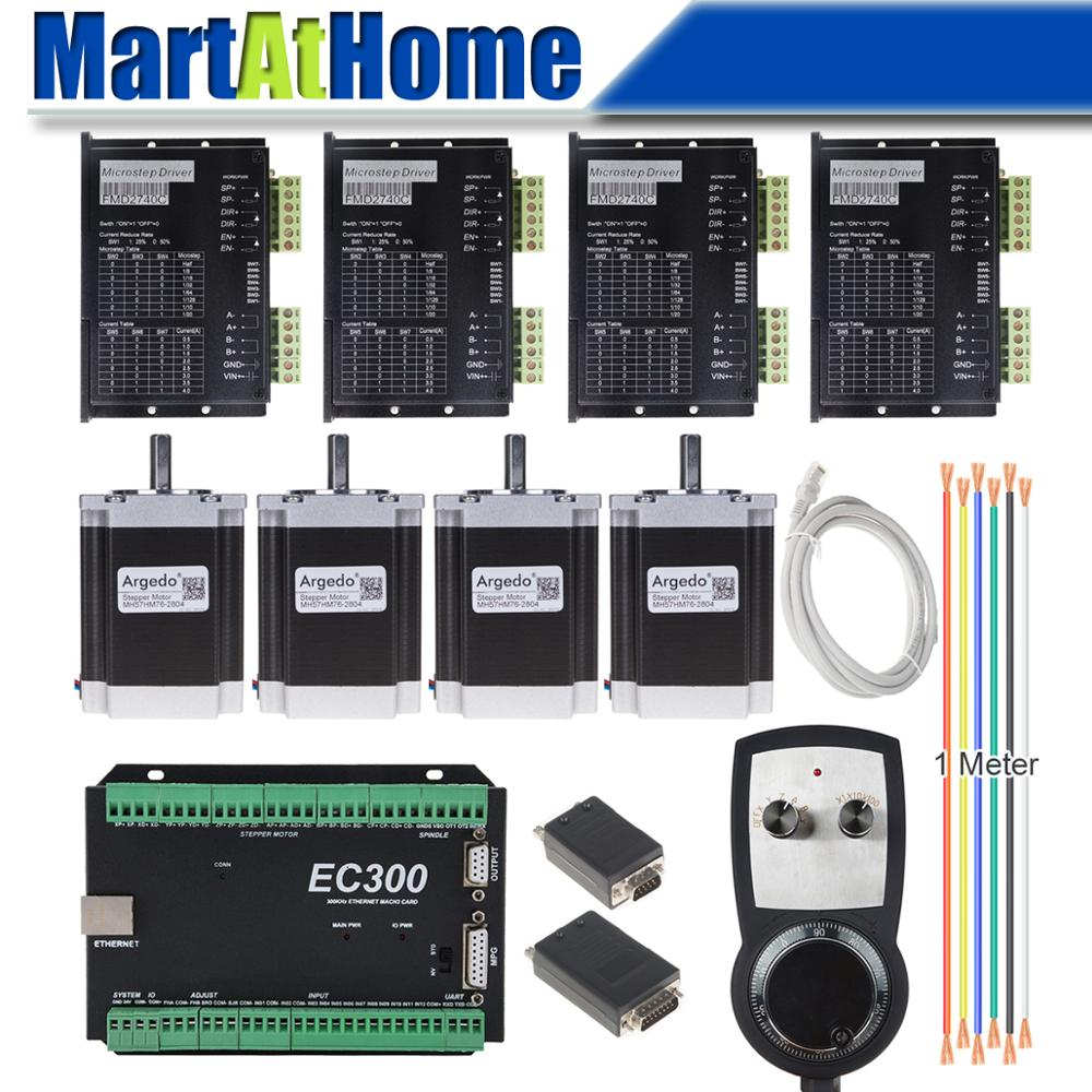 4 Axis CNC Stepper Driver Kit Mach3 Ethernet 300 KHz With MPG Controller For DIY CNC Router