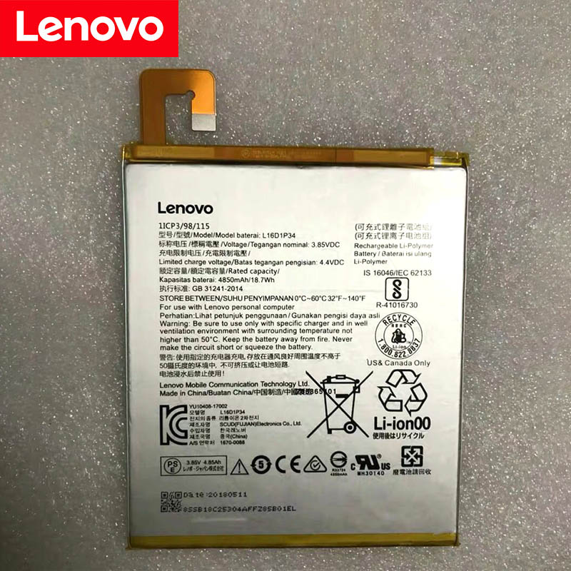 Lenovo 100% Original 4850mAh L16D1P34 Battery For LENOVO TAB4 8 TB-8504N TAB4 8 Plus High Quality Battery+Tracking Number