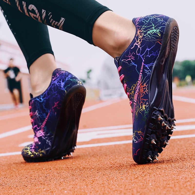 Homens pista de campo sapatos mulher spikes tênis atleta tênis de treinamento de corrida leve jogo pico esporte sapatos tamanho 35-45