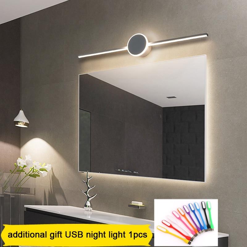 diodo emissor de luz da parede do banheiro espelho lampada preto branco banheiro lampada parede moderna