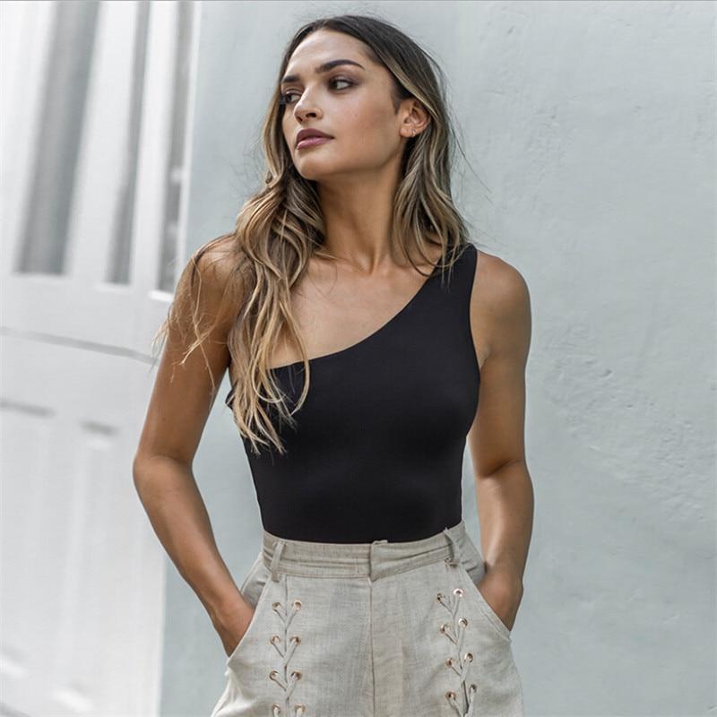 2019 Summer Women Sexy One Shoulder Bodysuits Romper Sleeveless Bodycon  Clubwear Top
