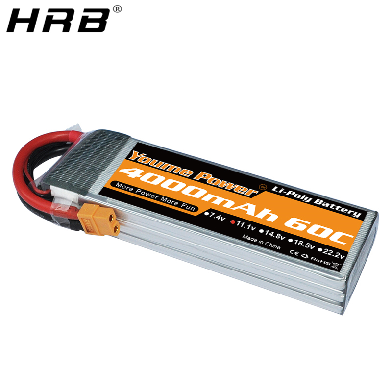 Youme 3S 11.1V Lipo Battery 4000mah EC3 T Deans XT60 TRX XT90 EC5 Connector For Racing Airplane Car Truck Bait Boat RC Parts 60C image
