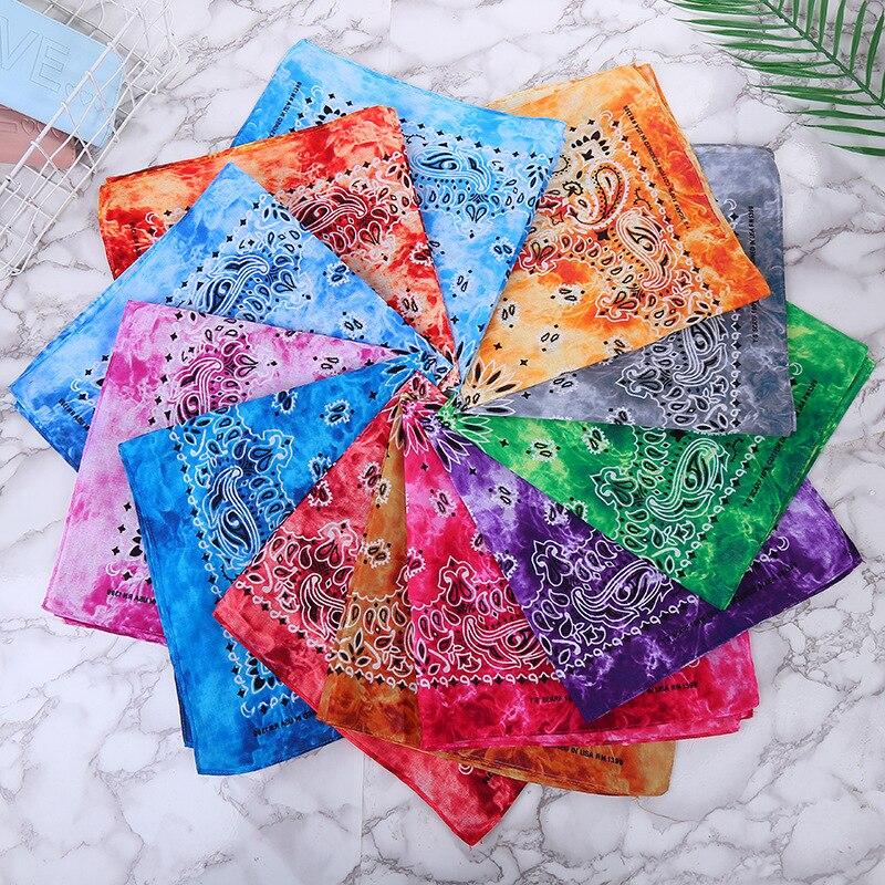 New Style Bandana Sports Outdoor Riding Scarf Headscarf Sweat Absorbing Kerchief Pure Cotton Tie-dye Triangular Binder