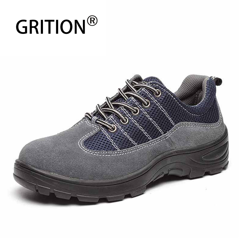 GRITION Men Safety Work Shoes Steel Toe Cap Waterproof Upper Breathable Winter Boots Trekking Hiking Labor Insurance Shoes 2019 image