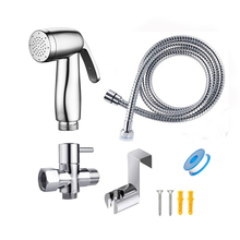 Toilet Bidet Sprayer Faucet Bathroom Handheld Shattaf Brass T adapter 1.5m Hose Tank Hooked Holder Cloth Diaper Hygienic Muslim bathroom toilet portable shattaf bidet diaper sprayer with thermostatic faucet valve and 150 cm stainless steel hose a1301d