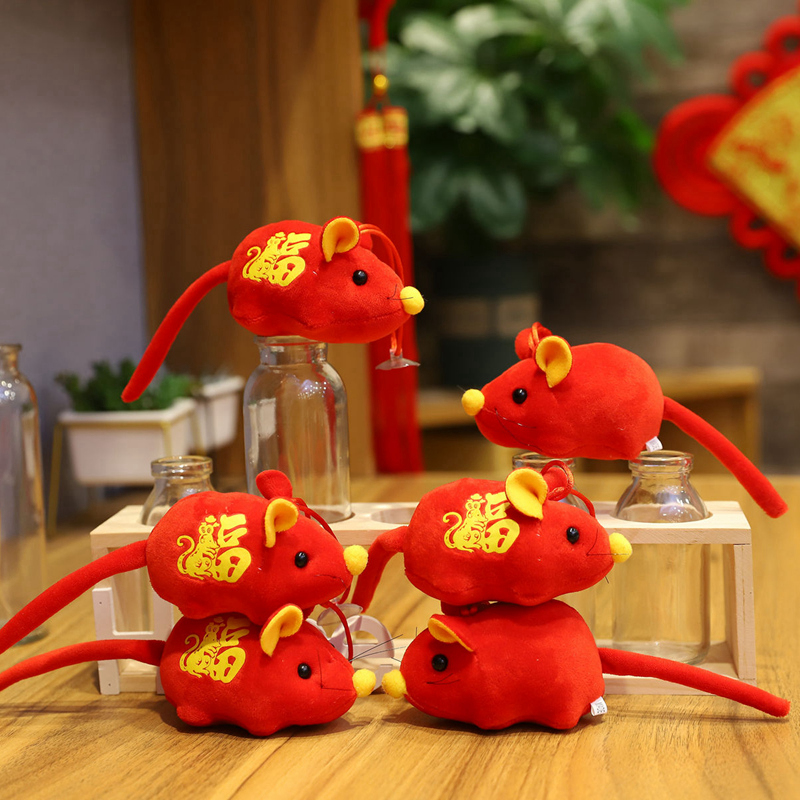 2020 Year Of The Rat Mascot Plush Toy Red Lucky Mouse Pendant High Quality Hanging Deacoration New Year Gift For Kids