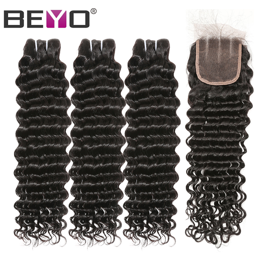 Brazlian Deep Wave Bundles With Closure Human Hair Bundles With Closure 4 Bundles With Closure Non Remy Hair Extension Beyo