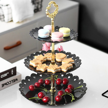 Three-tier Fruit Bowl Tray Snack Rack Seeds Nuts Candy Melon Fruit Bowls Multi-layer Cake Dessert Tray European wedding Party image